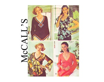 Vintage Boho Chic 70s UNCUT Sewing Pattern 1976 Set of Blouses McCall's 5359 Size small 10-12 bell sleeves Peasant hippie top V neckline
