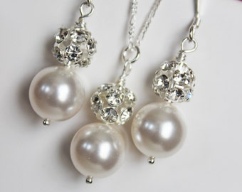 Bridal Jewelry Set, Wedding Jewelry Set, Bridesmaids Jewelry Set, Rhinestone and White Pearl Drop
