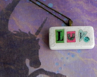 It's All About the LOVE, LOVE, LUV! Sweet Love Domino on a Generous Ball Chain Necklace