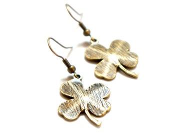 Antiqued Brass Clover Dangle Earrings - C0025 - Clover Earrings