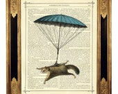 Flying Squirrel Art Print blue Parachute - Vintage Victorian Book Page Art Print Steampunk Nursery Wall Art Circus