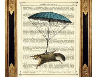 Flying Squirrel hanging by a blue Parachute - Vintage Victorian Book Page Art Print Steampunk