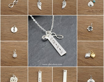Sterling Silver Charm Add-Ons for Personalized and Customized Handstamped Jewelry by Cheydrea