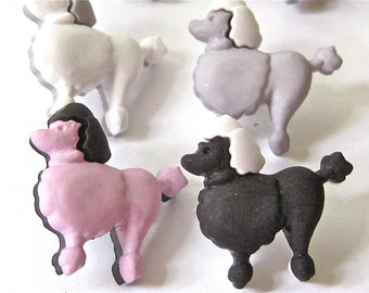 Poodle Dogs Craft Novelty Sewing Buttons