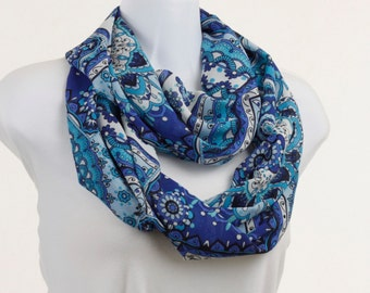 Fun Blue  Double Loop Infinity Scarf  - Chiffon floral collage ~ SH214-L1