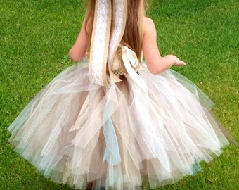 Aqua Burlap & Lace Couture with aqua flowers and tulle Flower Girl Tutu Dress/ Shabby Chic Wedding/ Rustic Wedding/ Country Wedding