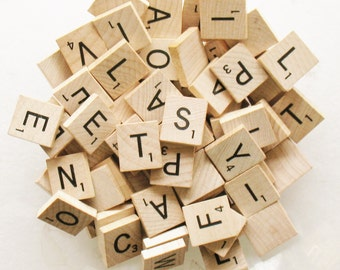 LOT 100 Wood SCRABBLE Tiles Unsorted Un - Picked