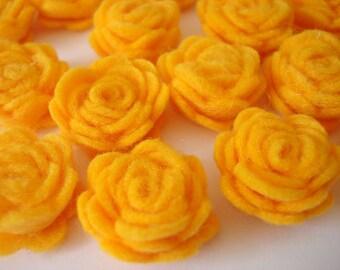 Set of 20 pcs - handmade MINI Felt Rose Flower - Light Orange (MRO)
