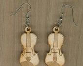 FREE SHIPPING - Violin Earrings - Laser Cut Wood (ER-027NN)