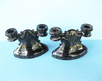 Pair of Black Double Candle Holders