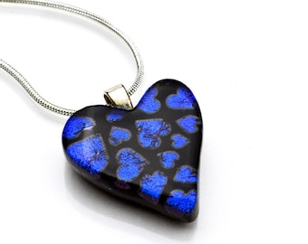 Dichroic Heart Pendant Blue Hearts on Black Necklace