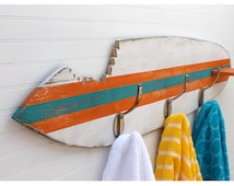 Surfboard Towel Hook Shark Bite Wooden Beach House Entryway Hook