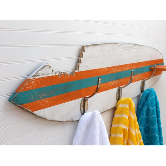 Surfboard Towel Hook Shark Bite Wooden Surfboard Towel Rack