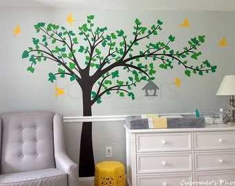 "Tree Wall Decals Stickers Nursery Room Decor Flying Birds Decal Kids Decal- Big tree with love birds(100"" W) -Deisnged by Pop Decors"