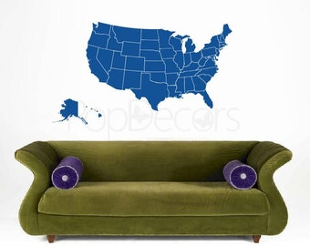 Us Map Wall Decal Map Wall Stickers Usa Map Free Squeegee And Color Change