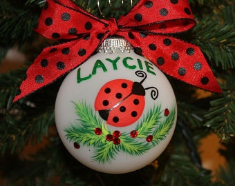 Ladybug Personalized Ornament - Handpainted and made to order with black Swarovski rhinestones as the spots on the ladybug