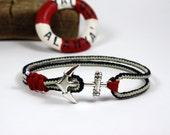 anchor bracelet...nautical bracelet...sailing jewelry...paracord bracelet..nautical jewelry..sailrope bracelet...navy blue...nautical anchor