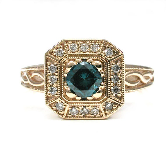 London Blue Diamond Ring - Emerald Cut Halo with Infinity Knot Band - 14k yellow Gold Engagement READY TO SHIP Size 5.5-7.5