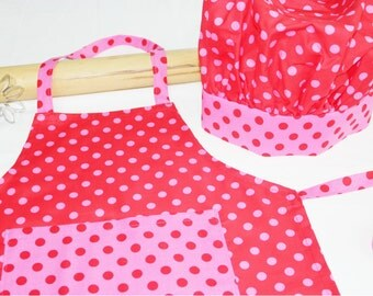 Red & Pink Dot Child Apron and Adjustable Chef Hat