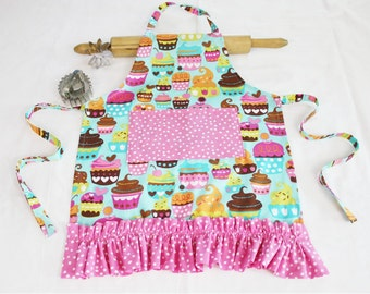Ruffled Teal Sweet Cupcakes Child Apron - teal with polka dot pocket and ruffle - ready to ship