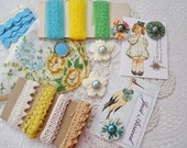 Blue, Green, And Yellow Inspiration Kit - Lace, Buttons, Hanky, And Crocheted Doily