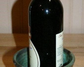 Beautiful green pottery utensil holder or wine cooler