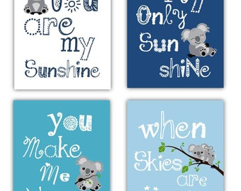 Nursery wall art // Nursery Decor // Art for kids room // Wall Art Prints // You are my sunshine Art // Blue Nursery Art // Koala Art