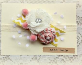 Pink and Mustard Headband - Funky Style Headband- Baby Flower Headband
