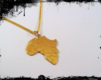 Africa Pendant Charm with Gold Plated Necklace Vintaj