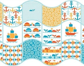 SALE Waves Patch by Dan Stiles Marine Too for Birch Organic Fabrics Cheater Print Ocean Sea Ships Turtles Anchors Whales One Yard