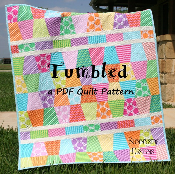 Cute Quilt Pattern Tumbled Charm Pack Baby Throw Size Tumbler