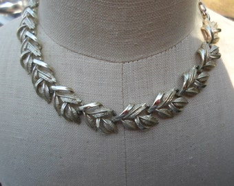 Vintage Silver Tone Chunky Coro Leafy Necklace Adjustable Thick 1960s