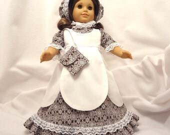 5 piece outfit, for 18 inch dolls, .  White print on dark brown with white lace trim.