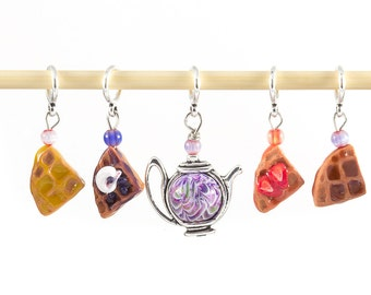Knitting stitch markers - miniature teapot & belgian waffles polymer clay set of five