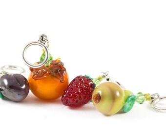 Knitting / Crocheting stitch markers handmade glass season fruits harvest set of four