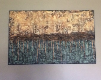 "Recreateable Payment Plan Avaliable 30x48x1.5"" Original Modern Textured Contemporary Abstract Painting By Alisha ""Petrified Wood"""