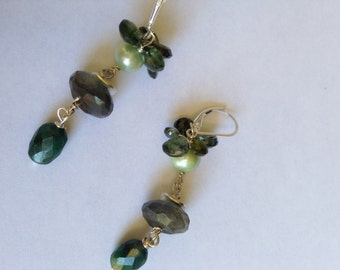 Dancing Green Vines, Green Pearl, Labradorite  Emerald, Tourmaline Silver Earrings, Etsy jewelry, Lilyb444,