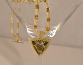 Hand Beaded Beadwoven 23 MM Swarovski Crystal Triangle Pendant with White and Gold Herringbone Cord Statement Pendant Bridal Jewelry