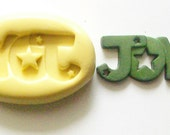 Joy word Mold #345 - silicone mold, craft mold, porcelain mold, jewelry mold, charms mold, nail art mold, clays mold, flexible mold
