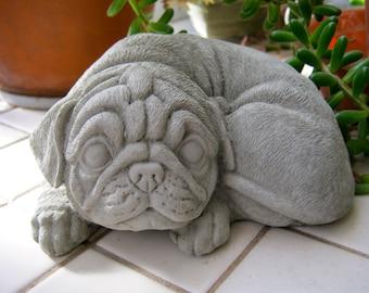 Pug Statue, Toy Dog Concrete Figure, Cement Garden Decor