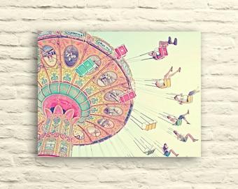 Carnival photography. Swings. Santa Cruz. Pastel. Pink. Yellow. blue. canvas wall art. nursery decor. fun. whimsical. children's room decor