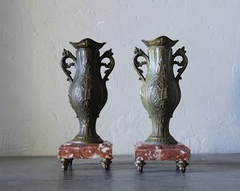 Antique French Art Nouveau Pair of Vases Empire Style
