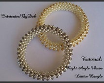 Tutorial Beaded Right Angle Weave Lattice Bangle Bracelet - Jewelry Beading Pattern, Beadweaving Instructions, PDF, Do It Yourself, How To