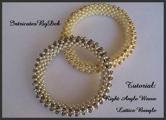 Tutorial Beaded Right Angle Weave Lattice Bangle Bracelet - Jewelry ...