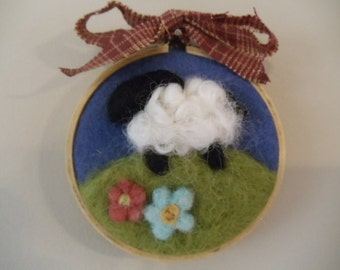 Needle Felted Sheep in Pasture Wall Hoop Hanging Art