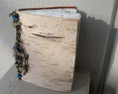Small Birch Bark Journal/Scrapbook/Guestbook/Nature Journal-Blank Book-Handcrafted-Lichen covered twig-Upcycled Recycled -Home Decor