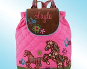 Signature Quilted Backpack - Personalized and Embroidered - HORSE