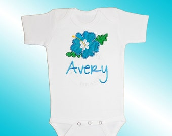 Bodysuit Baby Clothes - Personalized Applique - Hibiscus Flower - Embroidered Short or Long Sleeved - Free Shipping