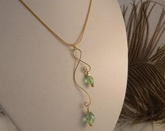 Peridot Swarovski Crystal Pendant and Earrings in Gold