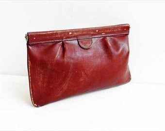 Vintage Leather Clutch Bag Oxblood Purse Distressed